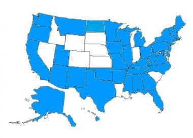 The shaded states have some form of medical examin