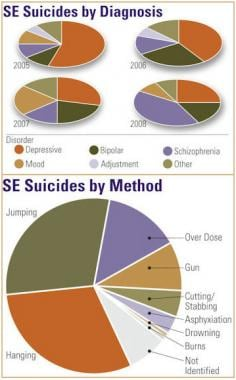 Sentinel event (SE) suicides by diagnosis and meth