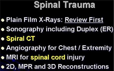 Lumbar spine trauma. Imaging methods that may be u