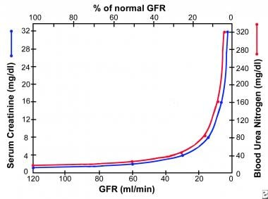 The graph shows the relationship of the glomerular
