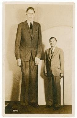 Robert Wadlow, 19 years of age, with his father (p
