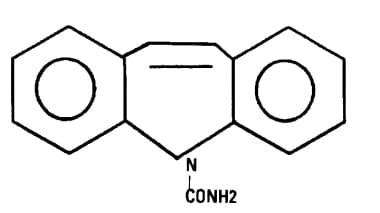 Chemical structure of carbamazepine.
