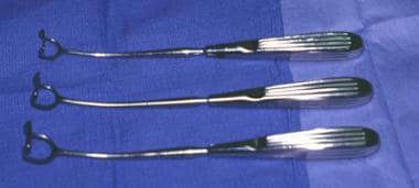 Long view of an adenoid curette, showing the entir