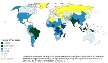 WHO map showing worldwide prevalence of leprosy in