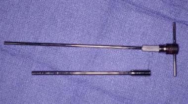 Close-up view of Craig needle biopsy instruments.