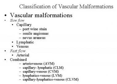 Classification of vascular malformations.
