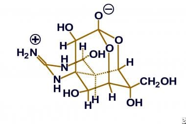 Chemical structure of tetrodotoxin.