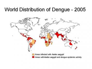 Worldwide distribution of dengue in 2005. Picture
