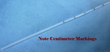 Close-up of umbilical catheter.