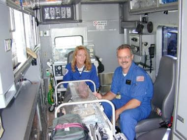 Interior of an ambulance configured for neonatal g