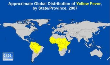 Global distribution of yellow fever. Image courtes