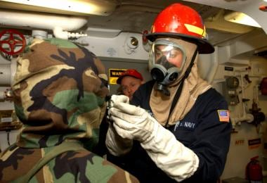 Chemical, Biological warfare training aboard USS H