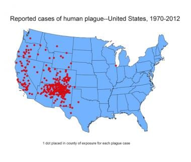 Reported cases of human plague in US 1970-2012. Co