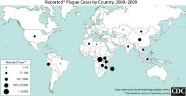 Worldwide distribution of plague cases 2000-2009.