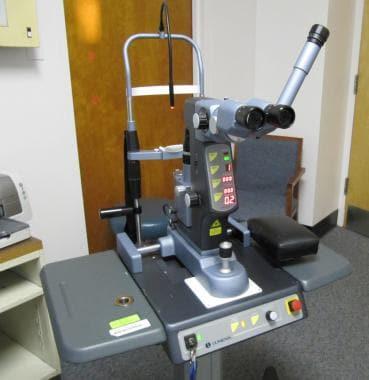 Neodymium:yttrium-aluminum-garnet (Nd:YAG) laser.