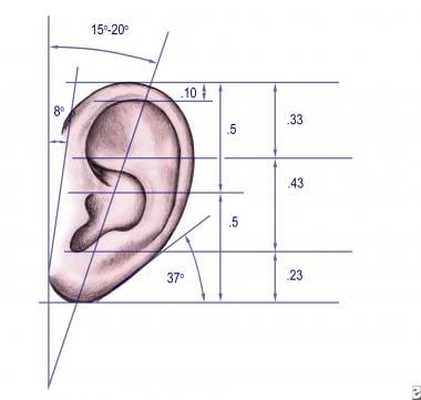 Dimensions and proportions of the external ear.