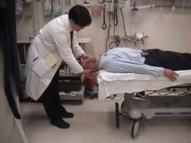 Epley maneuver. Turn the patient's head 90° in the