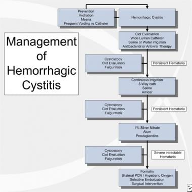 Management of hemorrhagic cystitis. PCN = percutan