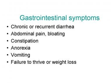 GI signs and symptoms of celiac disease.