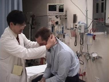 Epley maneuver. Move the patient's head forward an