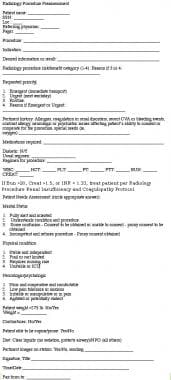 Radiology procedure preassessment form.