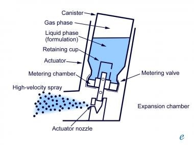 Cross-sectional diagram of metered dose inhaler (M
