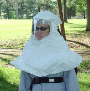 Battery powered air-purifying hood respirator. Ima