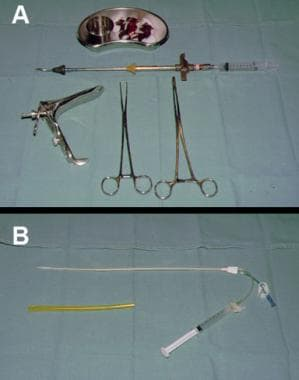 Instruments required for hysterosalpingogram (HSG)